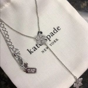 New Kate Spade Silver Pave Blooming Necklace